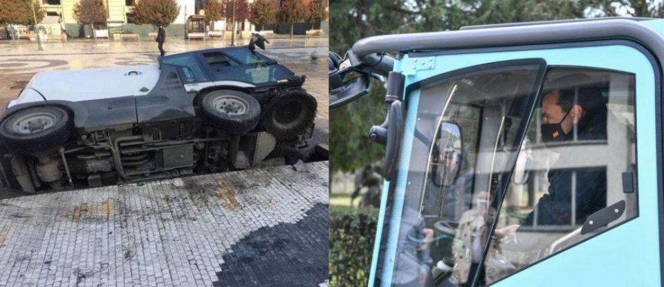 """(ФОТО) Возилото на """"Брако"""" кое го возеше Заев пропадна во фонтаната на плоштадот """"Македонија"""""""