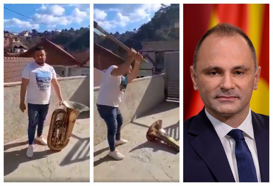(ВИДЕО) Маж го крши својот инструмент бидејќи нема свадби: Поздрав до Венко Филипче!
