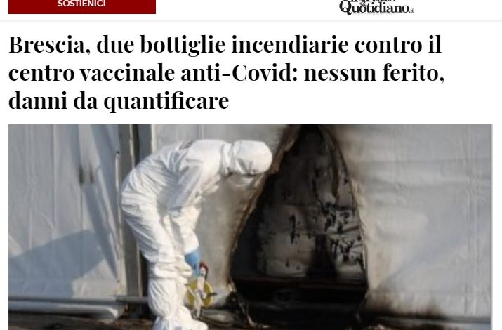 Во Бреша нападнат центар за вакцинација со два молотови коктели