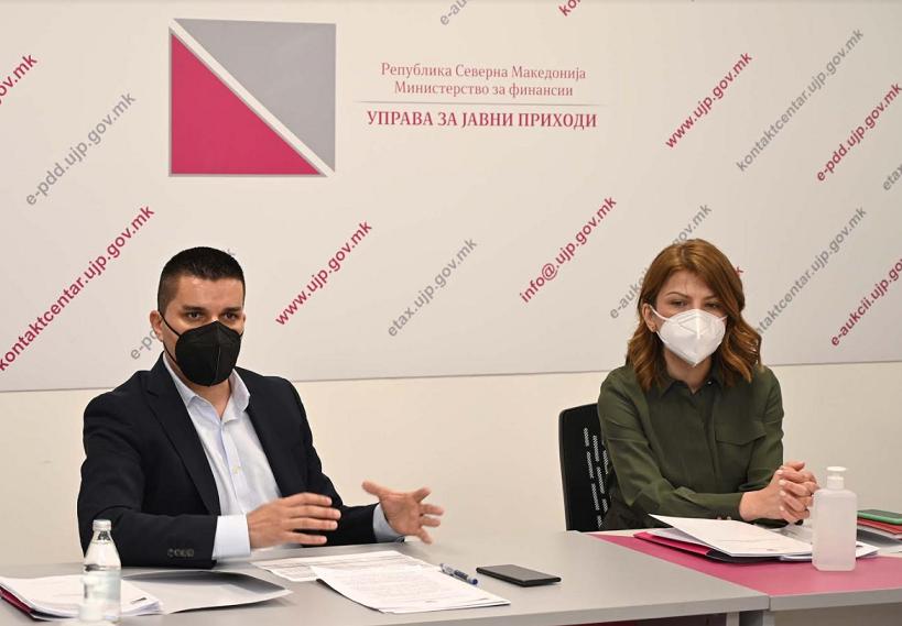 Средба на Николовски и Лукаревска за улогата на УЈП во спречувањето на затајување на данок и корупција