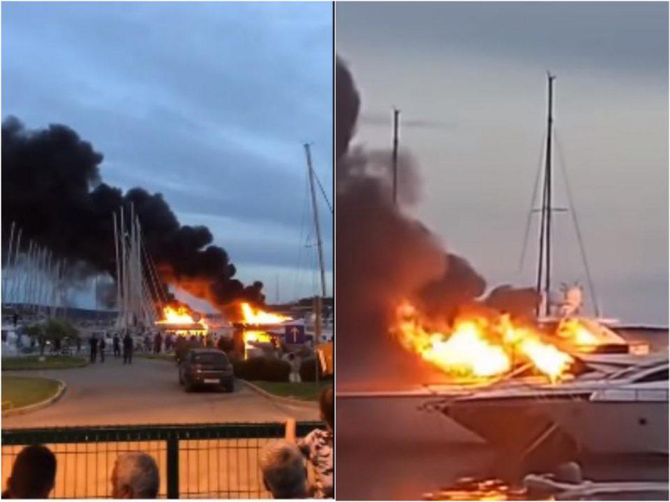 (ВИДЕО) Пожар на хрватското приморје: Горат бродови во марината