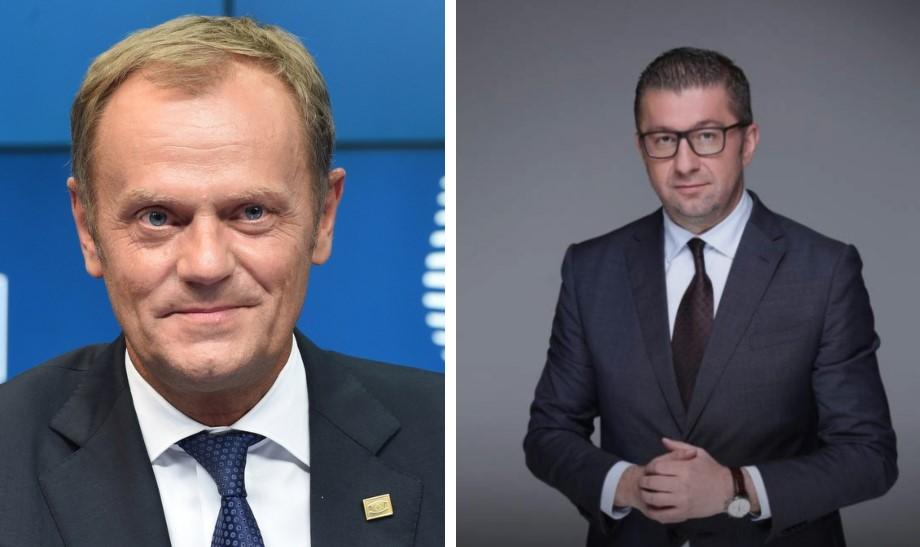 Доналд Туск по разговорот со Мицкоски: Владејачката партија да соработува со опозицијата, да се засили борбата против корупцијата и да има независен судски систем