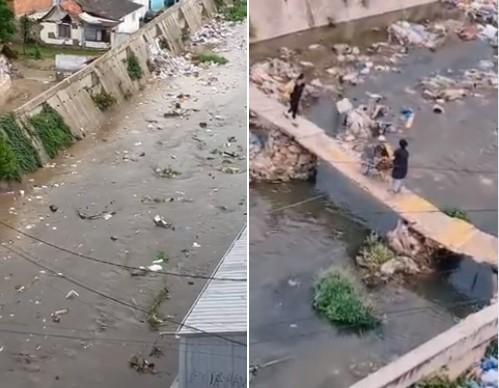"""(ВИДЕО) Кумановка """"затрупана"""" со отпад – Фатени на камера како фрлаат ѓубре од количка во реката"""