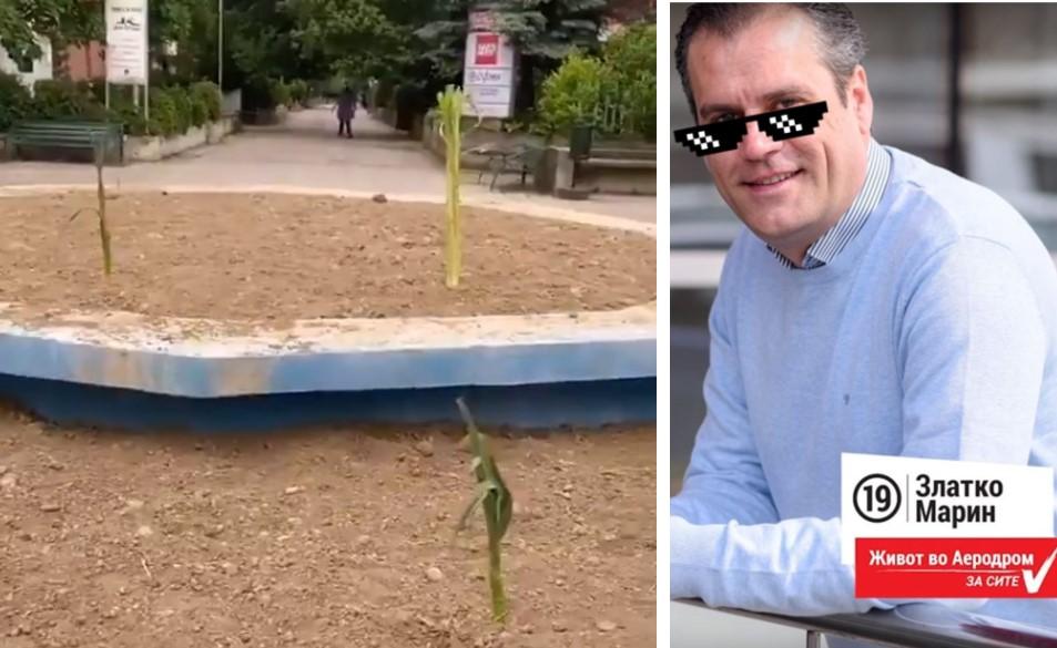 (ВИДЕО) Иноваторот Златко Марин претвори фонтана во саксија, жителите на Аеродром засадија ПРАЗ во неа!