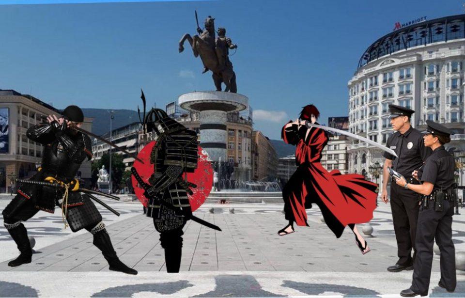 Самураj низ улиците на Скопје, вооружен со мачета се шетал низ Центар за време на полициски час