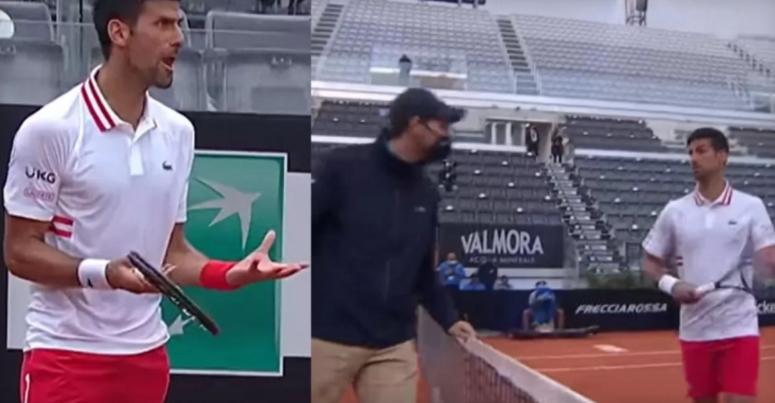 (ВИДЕО): Ѓоковиќ викаше на цел глас, го напушти мечот поради дождот