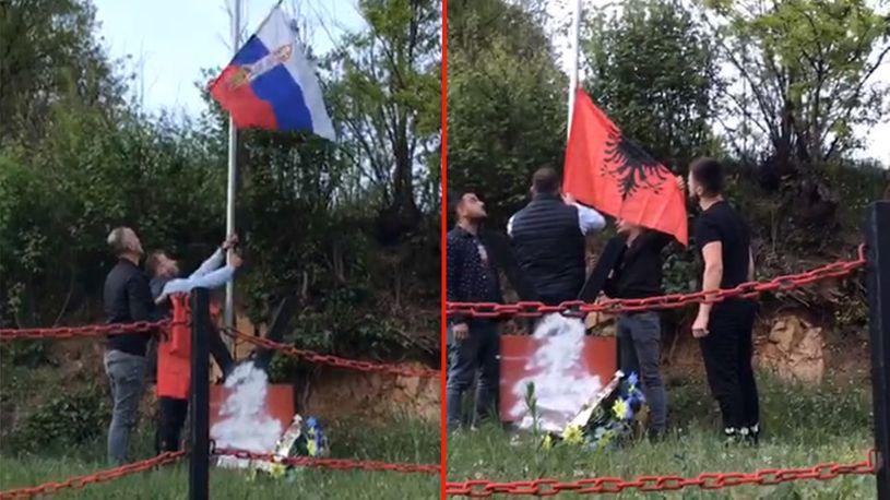 (ВИДЕО) Надитрување со знамињата на Србија и Албанија во Бујановац