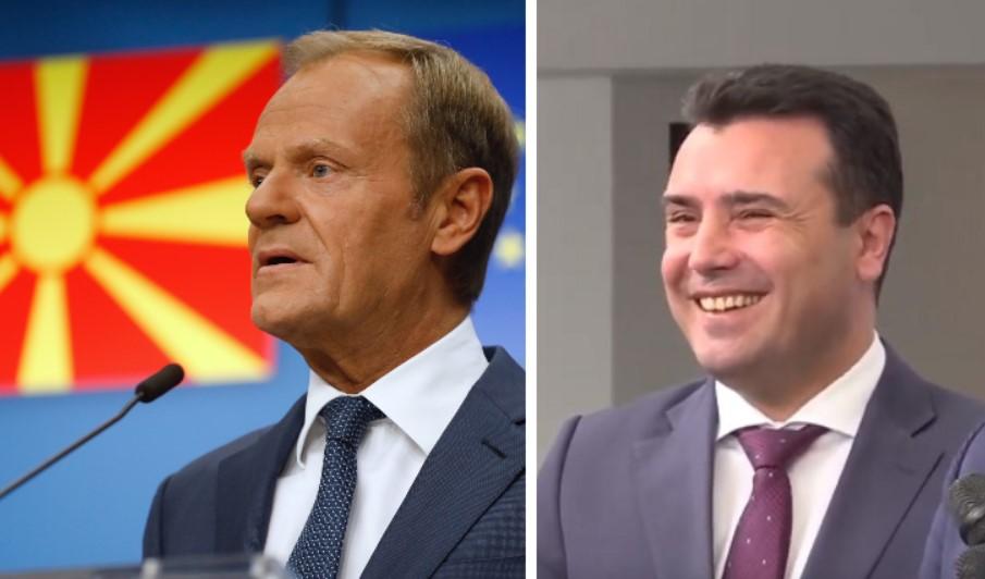 Заев до Туск: Благодарност што упатувавте пораки на македонски јазик пред Преспанскиот договор