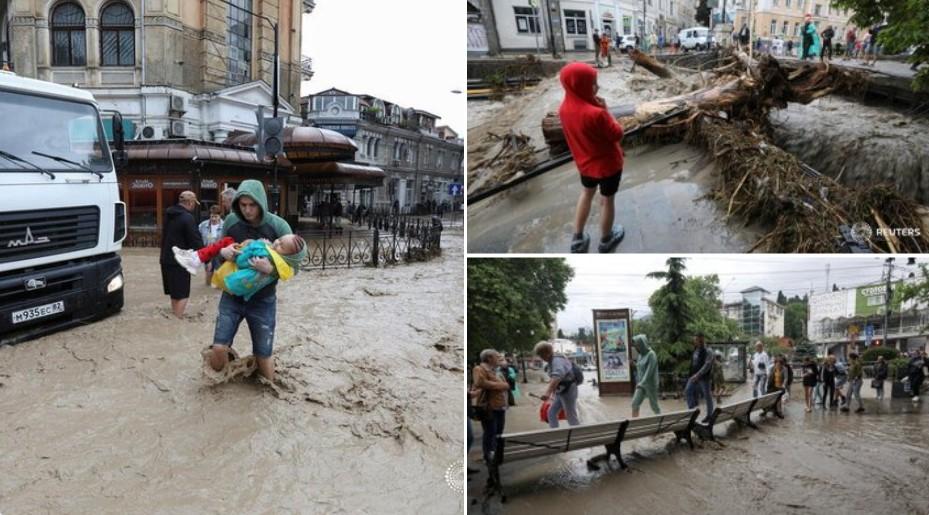 (ФОТО+ВИДЕО) Страшни поплави на Крим како ретко до сега, гувернерот плива за да се движи низ Јалта