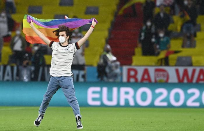 (ФОТО) Навивач со знаме на ЛГБТ влета среде натпревар