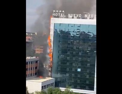 Голем пожар во хотел во Мадрид(ВИДЕО)