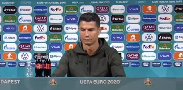 """(ВИДЕО) Роналдо одбра здрав живот: Не ставајте """"кока кола"""" пред него"""
